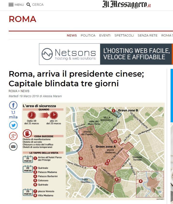 习近平访问意大利,3月21日至23日,罗马这些路段要封3天! 意国新闻 第2张